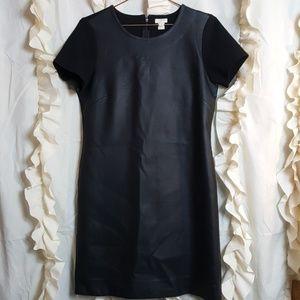 J. Crew faux leather dress short sleeve contrast